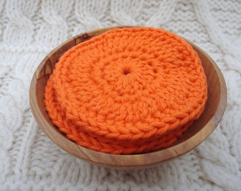 Cotton Exfoliating Pads Facial Scrubbies Orange set of four
