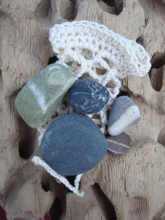 Collection of Irish Beach Pebbles in Crochet Bag