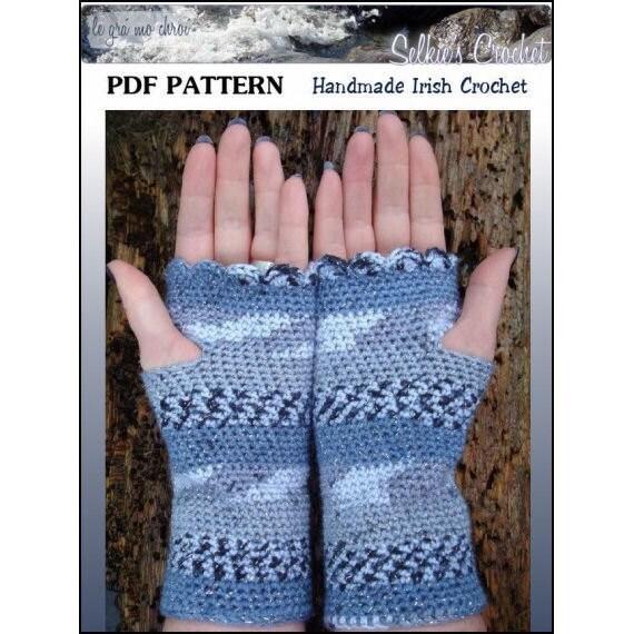 PDF Fingerless Gloves Crochet Pattern Wrist Warmers Shell Edging