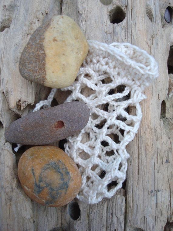 Beach Pebble Collection Irish Worry Stones in Crochet Bag