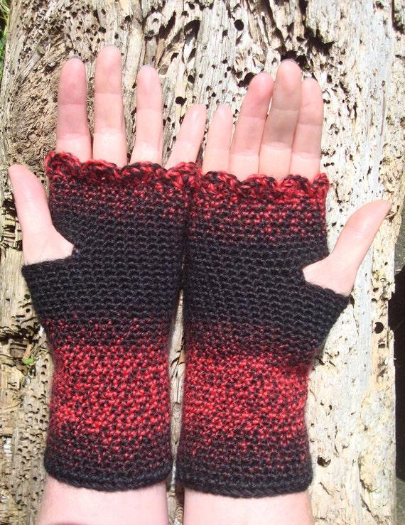 Crochet Wrist Warmers Fingerless Gloves Black and Red