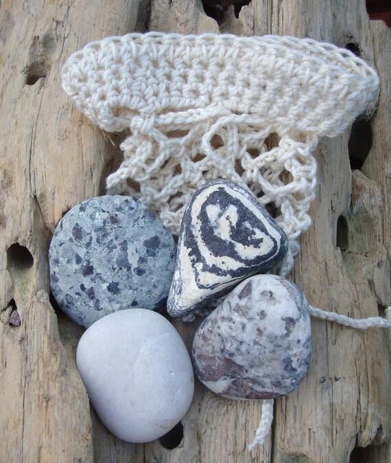 Irish Beach Pebbles in Crochet Bag