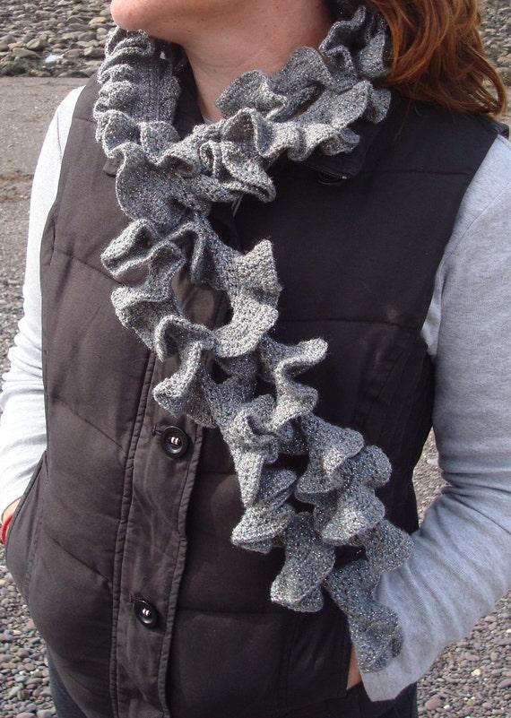 Crochet Scarf Ruffled Gray Swirly Scarf Handmade by SelkieCrochet Handmade Scarves Ireland