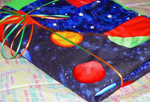 Glow in the Dark Space and Star Baby Blanket