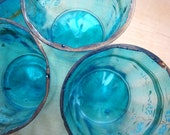 Vintage Set of Turquoise Hand Painted Glassware