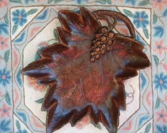 Vintage Leaf Dish Fall Leaf Pressed Wood