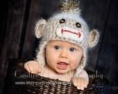 Angel Soft Sock Monkey Baby Hat 6-12 months