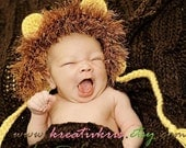 Little Lion Baby Bonnet REVERSABLE Preemie-Newborn (can be worn two ways)