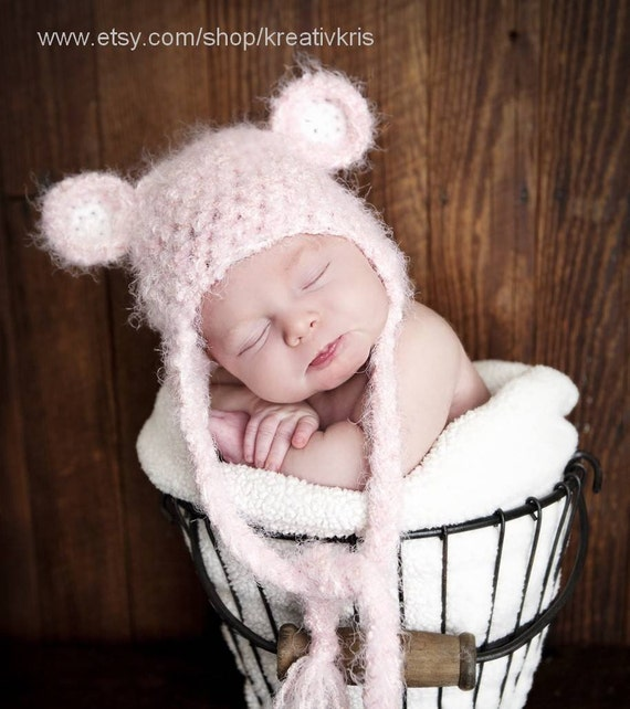 Reserved listing for pattimdizon Angel Soft Bear Earflap Baby Hat 0-3 month pink w/ diaper cover wrap