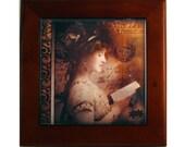 Edwardian Stage Actress Nina Sevening Reading Framed Tile