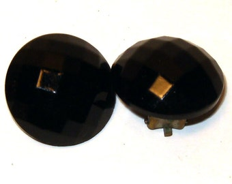 Vintage Black Glass Faceted Button Clip On Earrings