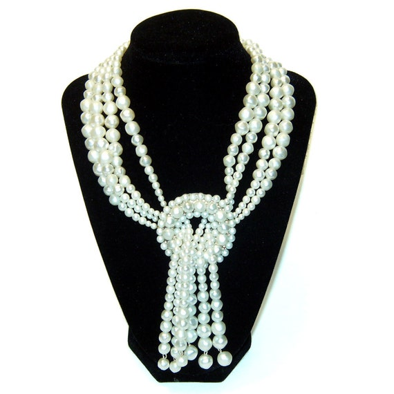 Faux Pearl Necklace with Large Round Pendant