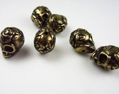 20 Tierracast Brass Oxide Skull with Roses Beads