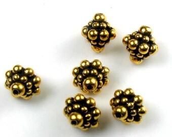 6 Gold Tierracast Pamada Beads