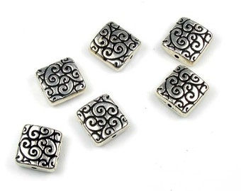 6 Squares with vines - silver Tierracast beads
