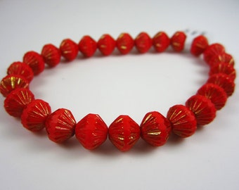 Opaque Red w/ Gold Czech Fluted Glass