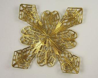 Natural Brass Stamped Large Filigree
