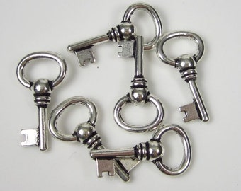 6 Tierracast Silver Oval Key Charms