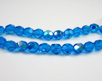 Czech Glass 6mm Aquamarine AB Firepolish