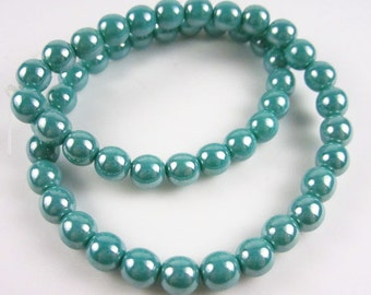 Czech Glass 6mm Turquoise Luster Rounds