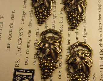 4 - Brass Oxide Stamped Grape Cluster Charm