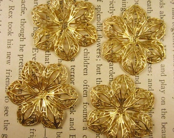 4 Natural Brass Stamped Filigree Flowers