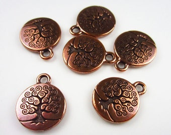 20 Antique Copper Tierracast Tree of Life Charms