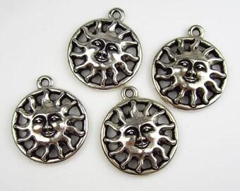 4 Silver Tierracast Sun Pendants
