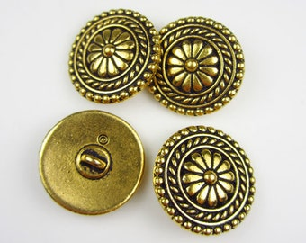 4 Tierracast Gold Bali Buttons