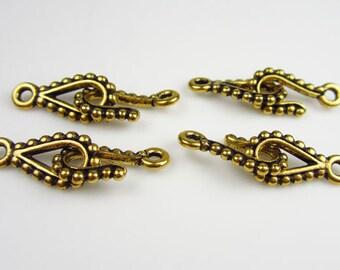 4 Gold Tierracast Beaded Hook & Eye Sets