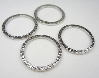 4 Silver Tierracast 1Inch Hammertone Rings