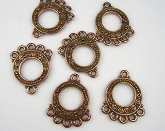 6 Antique Copper Tierracast 5-1 Spiral Links