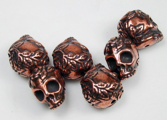 6 Antique Copper Tierracast Skulls with Roses Beads