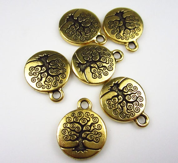 6 Gold Tierracast Tree of Life Charms