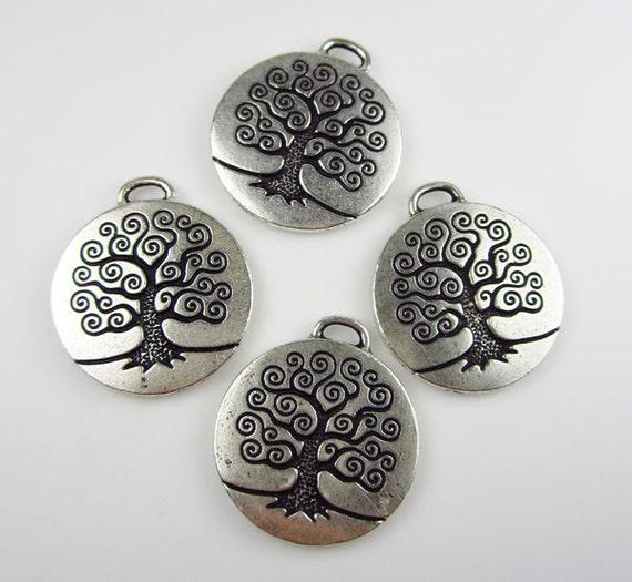4 Silver Tierracast Tree of Life Pendants