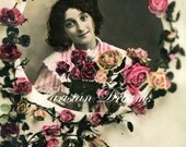 c 1910's Pretty French Girl with Roses  Antique Photo Postcard
