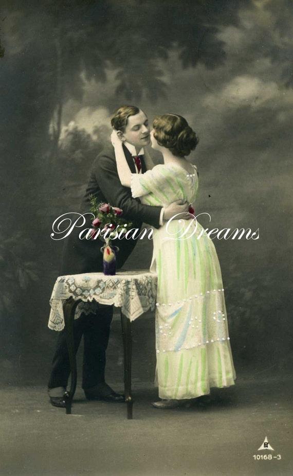 Antique Photo Postcard Romantic Couple  c 1910's
