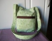 Hipster,Paisley Greens, Cross body or Shoulder Bag