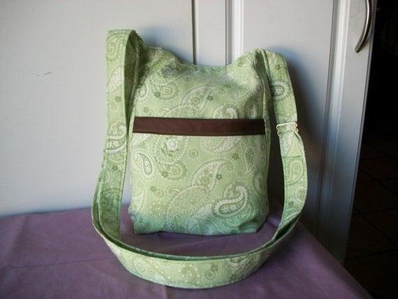 Hipster,Paisley Greens, Cross body or Shoulder Bag