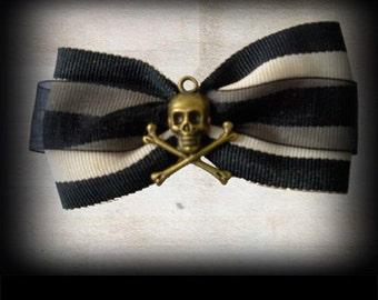 Skull and Crossbones Hair Bow