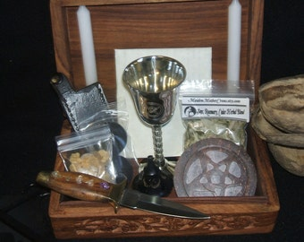 Wood Portable Basic Ritual Altar In A Box Kit Wicca Pagan Spirituality Religion Ceremonies Hoodoo Metaphysical MaidenMotherCrone