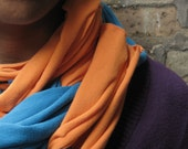 extra long upcycled tshirt scarf- blue and orange- bright neons