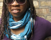 SALE- upcycled tshirt scarf- blue stripes- candy