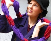 Ecofriendly Scarf made from Upcycled Tshirts- Bright Purple and Red