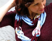 Ecofriendly Scarf made from Upcycled Tshirts- Baby Blue and Deep Red