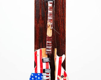 Stephen Colbert Smashed Miniature Electric Guitar Sculpture