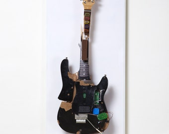 Turn Of The Century Smashed Guitar Hero Wall Sculpture by Chris Blake Chappell