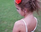 baby hair clip, Orange Flower hair clip, small flower clip,  Baby hair clips