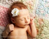 SALE baby headbands, White Small Vintage flower headband