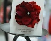 Deep Red/Burgandy Velvet Hair Flower with a diamond in the middle on an alligator hair clip